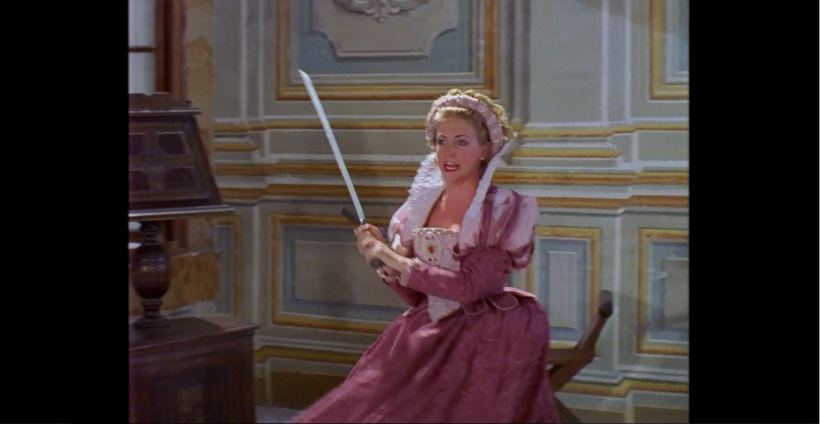 I believe this is the only instance of Sabrina sword fighting (though I've been wrong before).